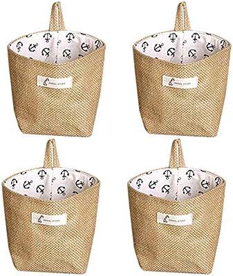Lino y algodón bolsa de almacenamiento cesta plegable bolsa de ...