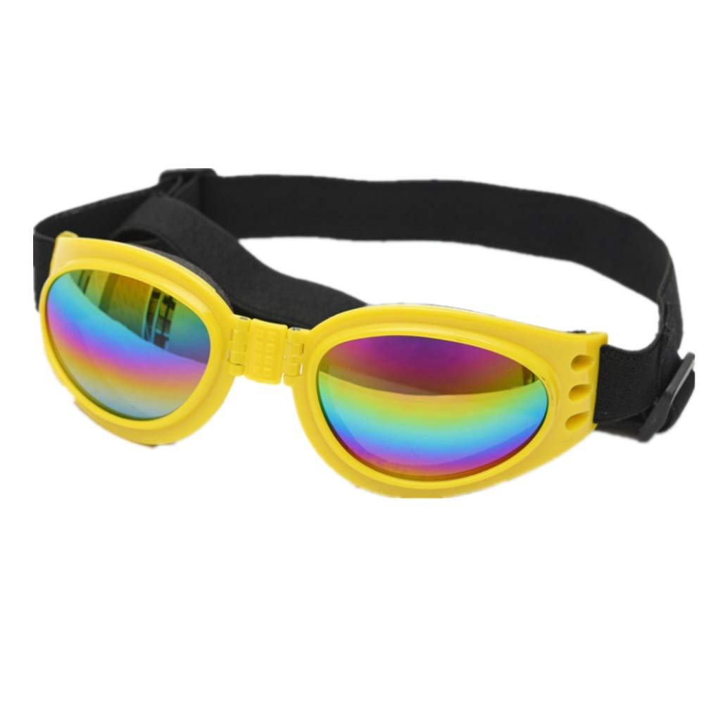 Yellow Pet Glasses Dog Sunglasses golden Retriever Samoyed Goggles Big Dog Eye Wear Predection Pink (color   Yellow)