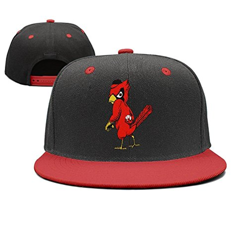 dyzinga Cute Red Bird Play Ball Flat Bill Visor Hats Baseball Caps
