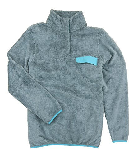 Fleece Mock Neck Pullover - Jachs NY Womens Cabin Sherpa Fleece Mock Neck Pullover Sweater with Chest Pocket (Large, Grey/Aqua)