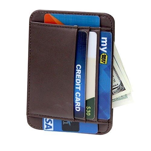 Men Front Pocket Wallet Minimalist Leather Slim Wallet RFID Blocking Card Holder