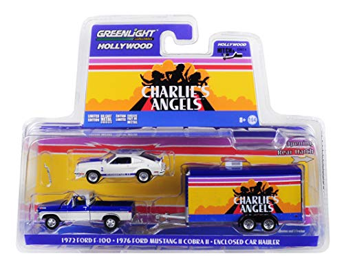 Greenlight 1972 Ford F-100 Pickup Truck & 1976 Ford Mustang II Cobra II & Enclosed Car Hauler Charlie's Angels (1976-1981) TV Series 1/64 Diecast Models 31070 A