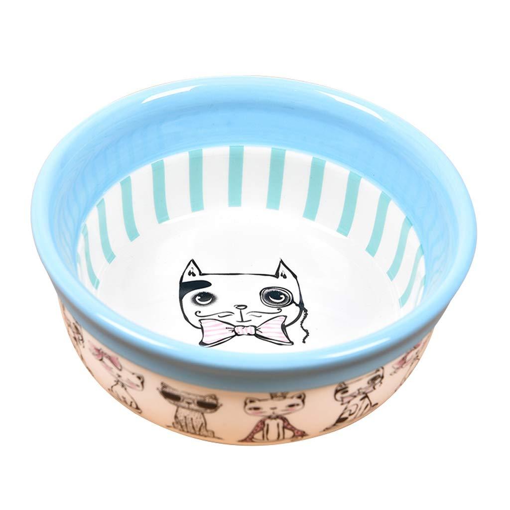 bluee MXD Pet Supplies Ceramic Bowl Pet Bowl Dog Bowl Cat Bowl Dog Food Bowl Cat Food Bowl (color   bluee)