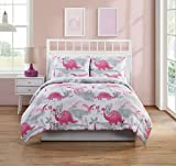 Your Little One Will Be Roaring for This Super Soft and Adorable VCNY Home Dino Quest Bedding Comforter Set,Super Cute Addition to Kids Room,Pink,Full
