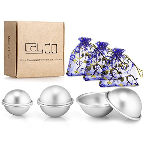 Caydo Set of 3 Metal DIY Bath Bomb Mold 4.5cm/ 5.5cm/ 6.5 cm for Crafting Your Own Fizzles by Caydo
