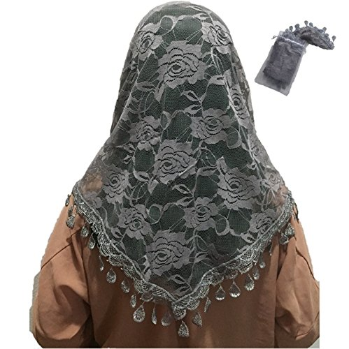 Mass Veil Catholic Church Mantilla Gray Chapel Lace Shawl or Scarf Latin Mass Head Cover with a Handy Storage Pouch (gray)