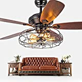 pendant chandelier Industrial Fan Semi Flush Ceiling Light - LITFAD Antique Vintage Retro Ceiling Fan Chandelier Cage Pendant Light In In Rustic Style Through Remote Control ( Edition : Wall control-107cm )