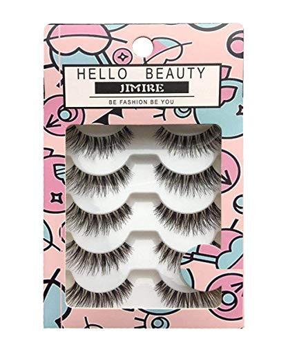 JIMIRE Fake Eyelashes Natural Multipack Lashes False Eyelashes 5 Pairs ()