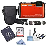 Nikon COOLPIX AW120 16 MP Wi-Fi and Waterproof Digital Camera with GPS and Full HD 1080p Video (Orange) bundle kit