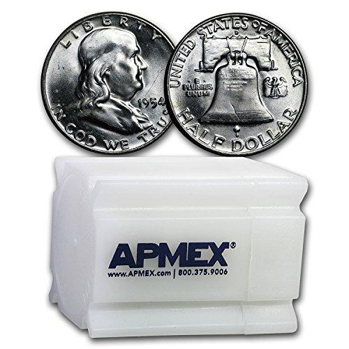 1954 D Franklin Half Dollar 20-Coin Roll BU Half Dollar Brilliant Uncirculated ()