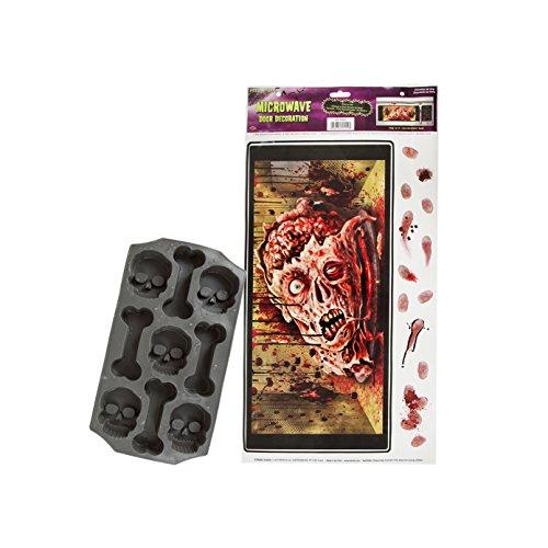 Maven Gifts: Beistle Halloween Microwave Door Decoration with Beistle Skull and Bones Ice Mold