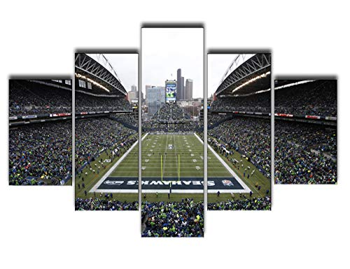 Art Work for Home Walls Seattle Seahawks Washington Paintings NFL Football Stadium Pictures 5 Pcs/Setl Canvas Wall Art Modern Artwork Giclee Home Decor for Bedroom Framed Ready to ()