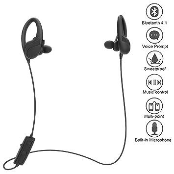 Tech Código Auriculares Bluetooth Wireless Sport Bluetooth Auriculares con micrófono anulación auricular Inglés Voice de oído