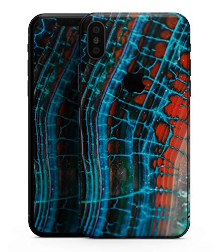 Teal Blue Red Dragon Vein Agate V2 - Design Skinz Premium Skin Decal Wrap for The iPhone XS ()
