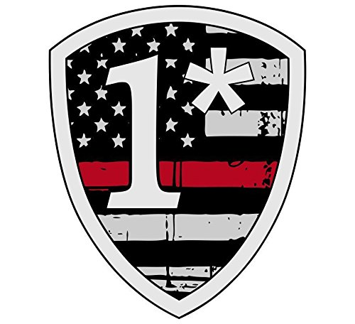 Thin Red Line Tattered Flag 1 asterisk - Decal Vinyl Sticker (Asterisk Decal)