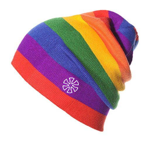 ACVIP Men Women Stripes Knit Hat Snowboard Beanie Skull Cap (Rainbow -