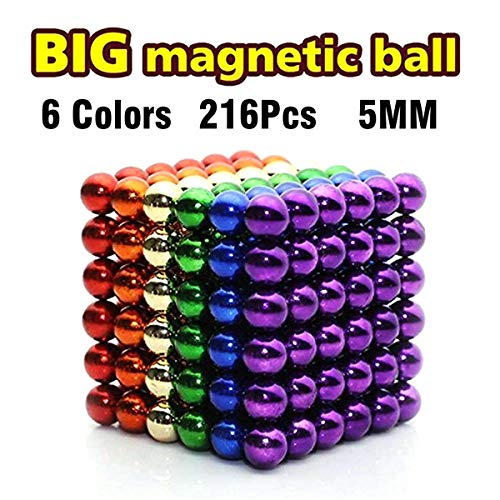 (LOVEYIKOAI 216 Pcs Magnets Cube Building Blocks Magnetic Toys Colorful Buildable Sculpture Toy for Stress Relief Gift for Adults,5MM)