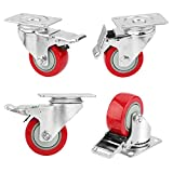 "3"" Plate Casters, PRITEK Heavy Duty Swivel Caster Wheels with Lockable Top Plate and No Noise Rubber Base Ball Fit for Home or Office Table Cabinet Shelves (bearing 200lbs each, set of 4)"