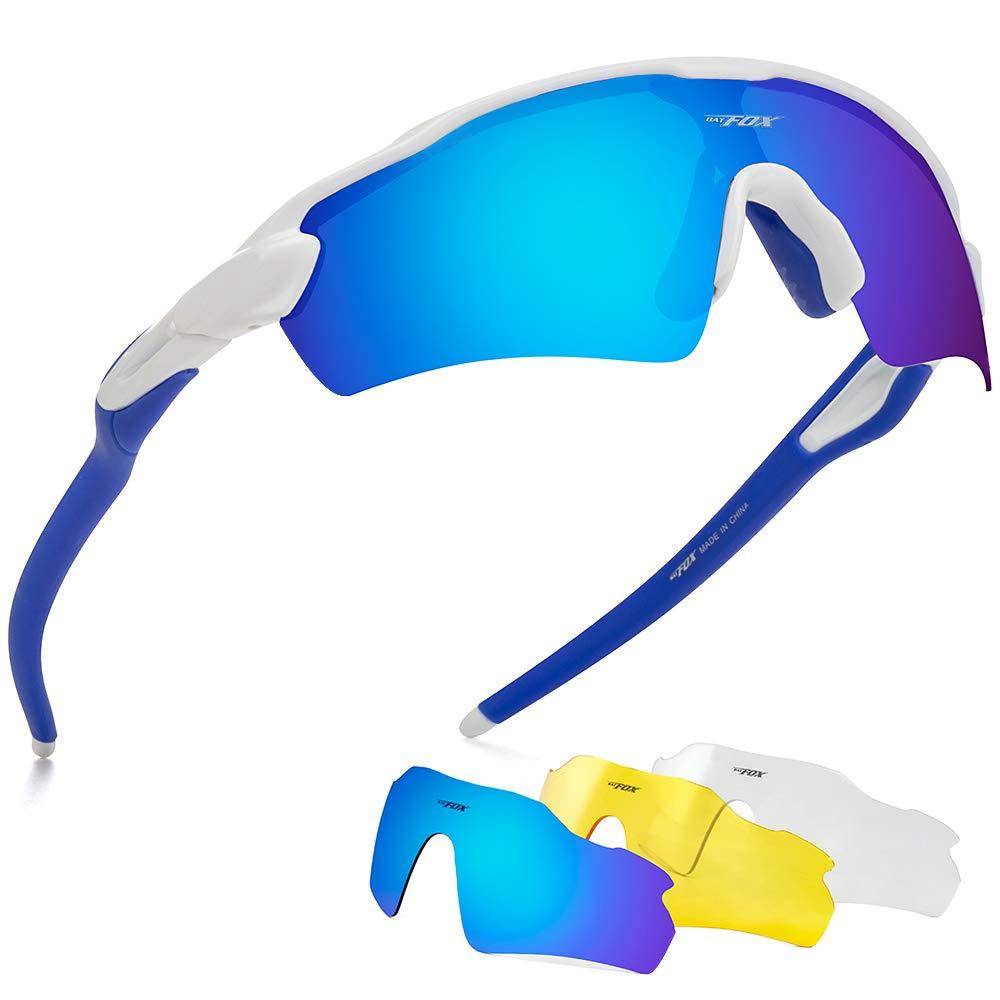 BATFOX Polarized Sports Sunglasses Glasses TAC Running Cycling Baseball Fishing Golf Softball Outdoor for Men Women Youth Interchangeable Lenses Tr90 Unbreakable Frame 100% UV (white Blue) by BATFOX