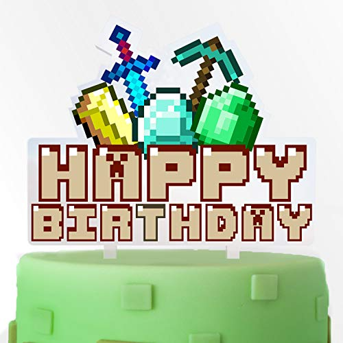 Video Game Acrylic Cake Topper Happy Birthday Pixel Gem Sword and Arrow Block Games Theme Decor Picks for Baby Shower Birthday Party Decorations Supplies (Blue Gems Minecraft)
