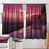 Elliot Dorothy Home Decoration Thermal Insulated Curtains Tree,Misty Sunrise on The River Reflection Woodland Misty Morning Panoramic Picture,Fuchsia Brown,for Bedroom,Nursery,Living Room 55'x45'