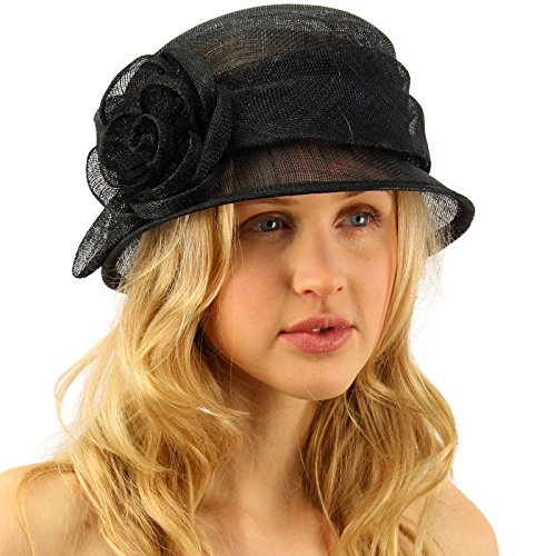 Summer 1920s Flapper Sinamay Floral Cloche Bucket Millinery Church Hat Black ()