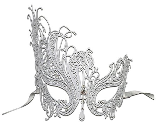 [Luxury Mask Women's Swan Metal Filigree Laser Cut Masquerade Mask, White/Clear Stones, One Size] (White Mardi Gras Mask)