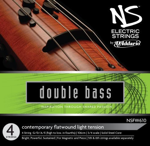 D'Addario NS Electric Contemporary Bass String Set, 3/4 Scale, Medium Tension (Solo Electric Bass)