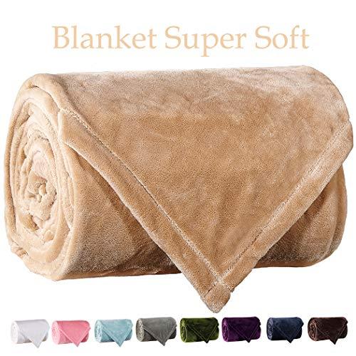 LBRO2M Fleece Bed Blanket Super Soft Warm Fuzzy Velvet Plush Throw Lightweight Cozy Couch Blankets King(104-Inch-by-90-Inch) Cream