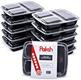 Paksh Novelty Meal Prep Lunch Containers 3-Compartment By Paksh with Super Easy Open Lids - BPA-Free, Reusable, Microwavable - Bento Box Food Containers for Portion Control, and Leftovers (10 Pack) (Kitchen)