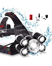 LED Headlamp, XM-L T6 High Lumen Waterproof 5 Led 4 Modes