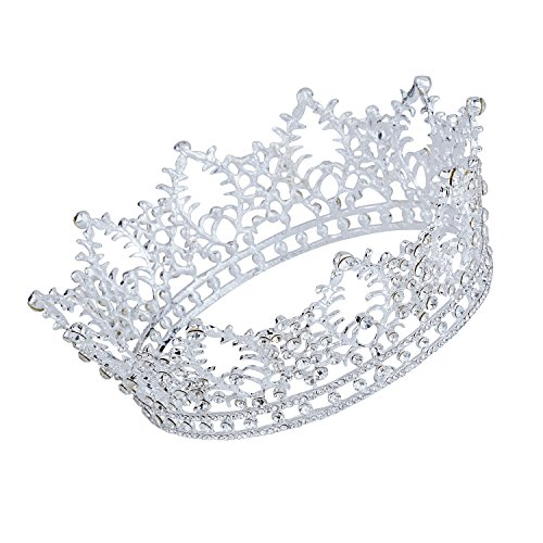 CamingHG Unisex Diamante White Crystal Sapphire Ruby Crown King Queen Pageant Tiara (Silver)
