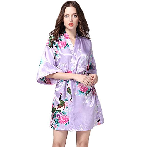 Kenmont Mujer Albornoces Lencería Kimono Flores Satén Pijamas Floral Camisón Bata Corto Ropa De Dormir (XL, White): Amazon.es: Juguetes y juegos