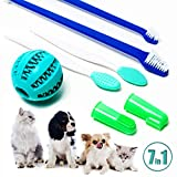 EC Markt Dog and Cat Toothbrush Kit - 7 in 1 Pack, Pet Oral Care Set with Soft Bristle Brushes, Silicone Finger Brush and Chewing Ball for a Professional Cleaning at Home