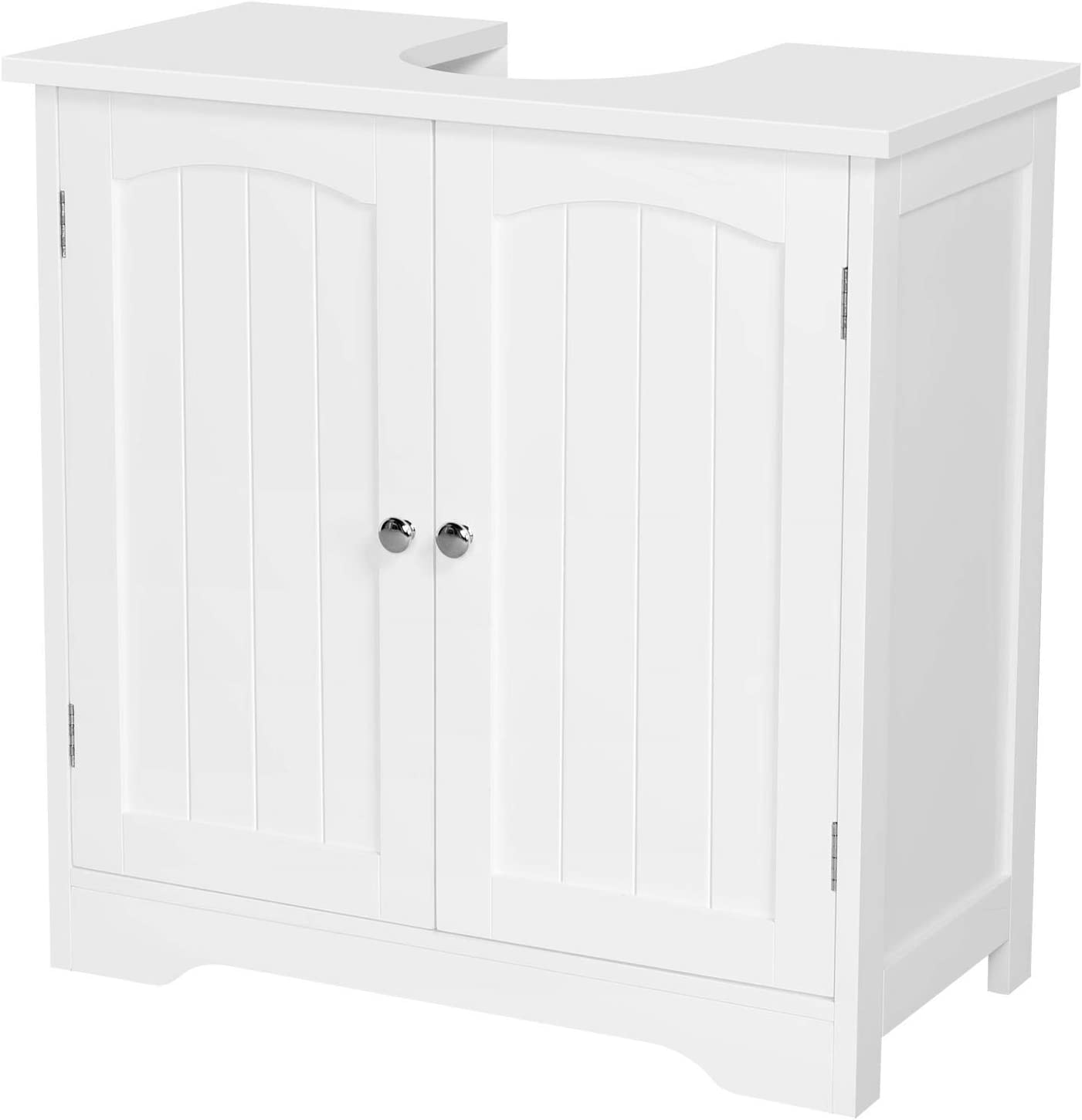 Yaheetech Bathroom Under Sink Cabinet Free-standing Cloakroom Vanity Basin Storage Cupboard Unit, White Wood