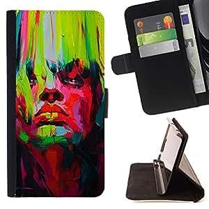 For Samsung Galaxy J3(2016) J320F J320P J320M J320Y Case , Brillantes colores vibrantes Verde Rojo Pintura- la tarjeta de Crédito Slots PU Funda de cuero Monedero caso cubierta de piel