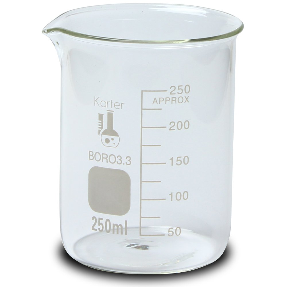 250ml Beaker, Low Form Griffin, Borosilicate 3.3 Glass, Graduated, Karter Scientific 213D8 (Case of 48)
