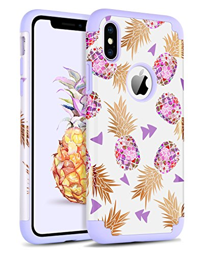 iPhone Xs Case, iPhone X Case, BENTOBEN Dual Layer Hybrid Heavy Duty Soft Bumper Protective Rugged Shockproof Phone Case Floral Pineapple Girl Women Cover for Apple iPhone Xs 2018 / X 2017 - Purple