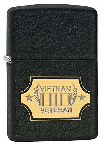 Zippo Vietnam Veteran Pocket Lighter, Black Crackle