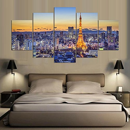 Tower Small Poster - [Small] Premium Quality Canvas Printed Wall Art Poster 5 Pieces/5 Pannel Wall Decor Tokyo Tower Painting, Home Decor Pictures - Stretched