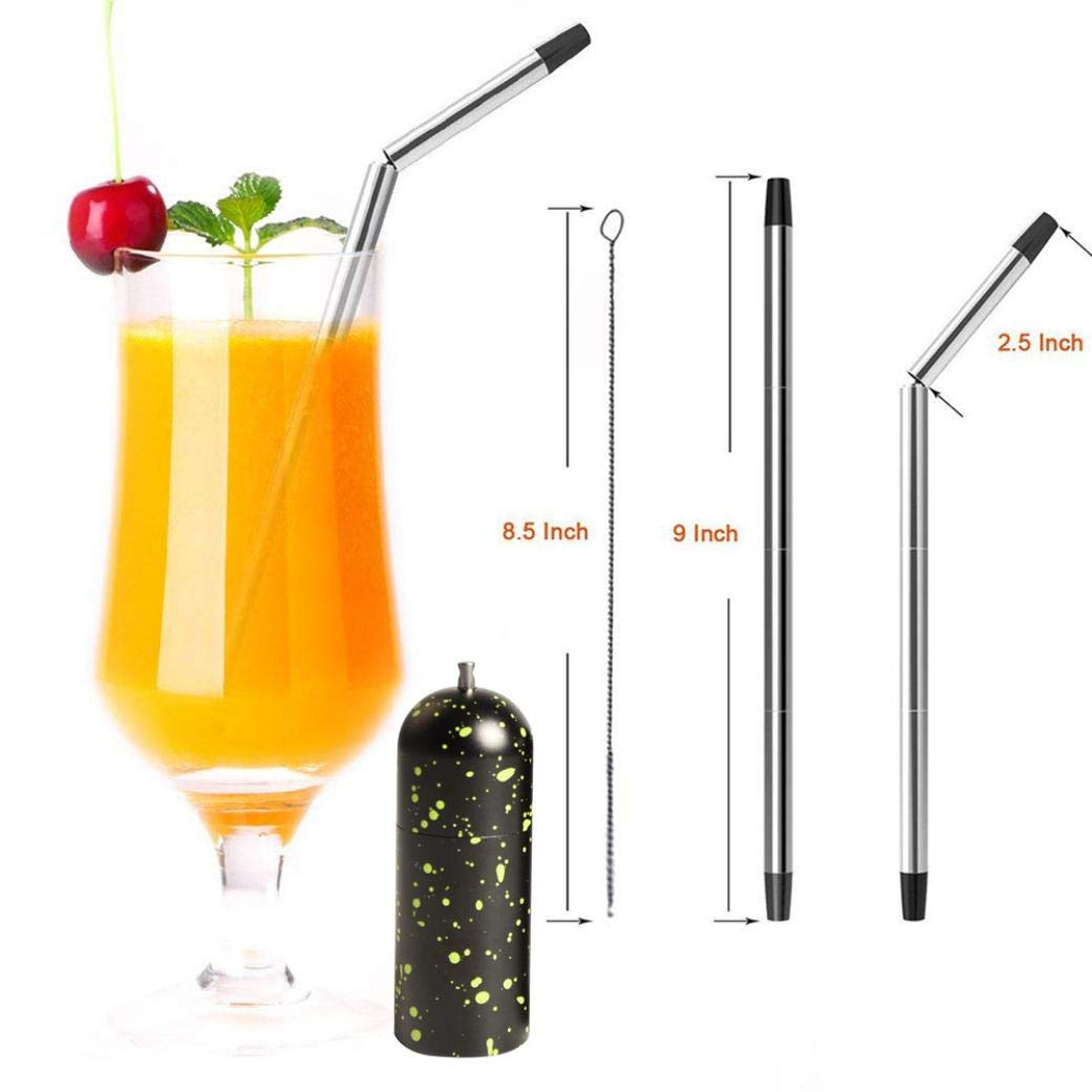 Straw, Coffee Water Foldable Stainless Steel Camping Survive Home Durable (E)