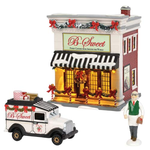 Department56 Original Snow Village B-Sweet Shop Lit Building and Accessories, 6.97
