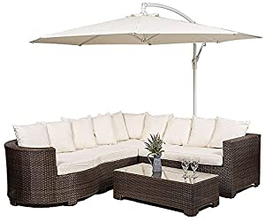 marbella rattan garden furniture 8 seater corner sofa set with glass top table seat cushions umbrella parasol waterproof dust cover garden patio - Garden Furniture Corner Sofa