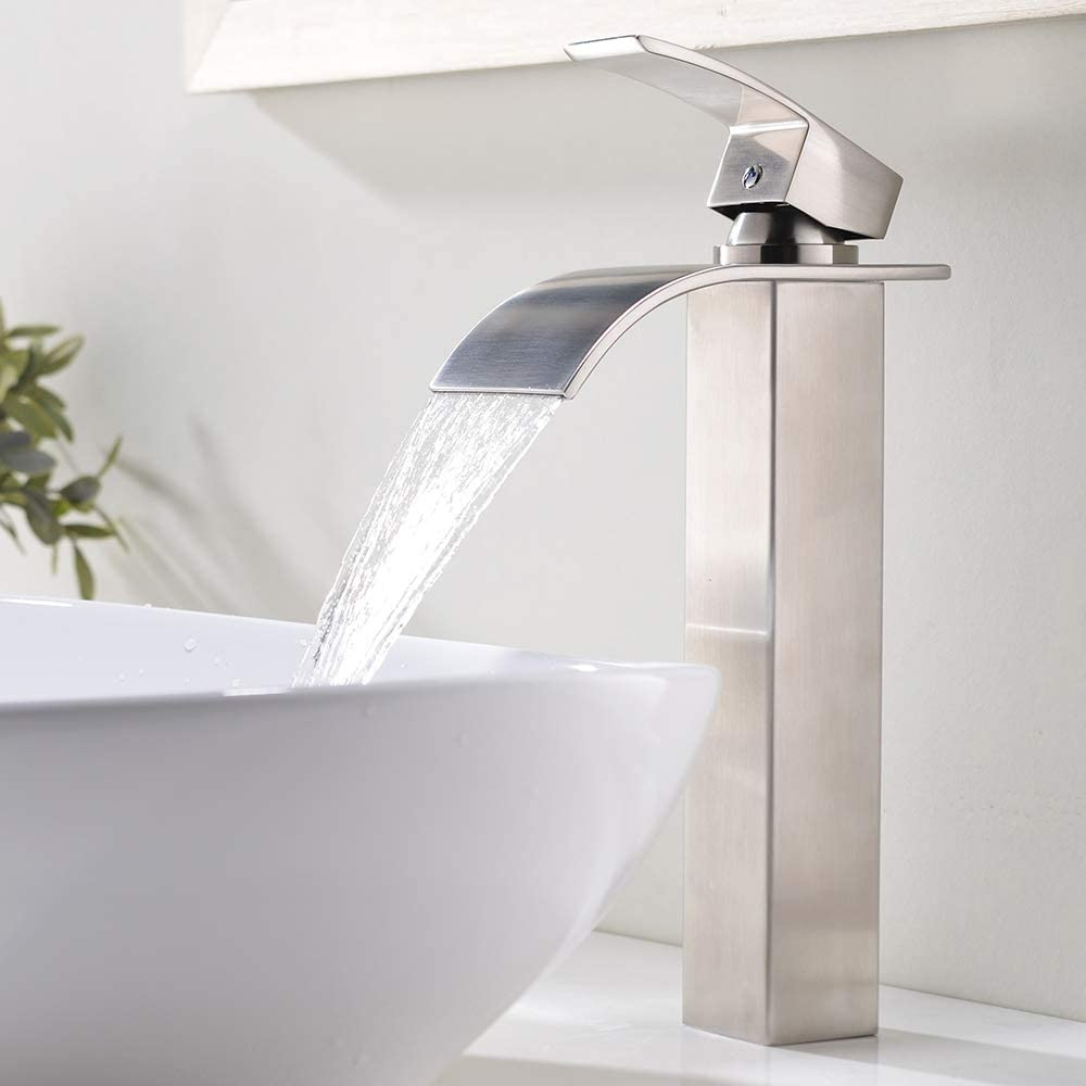 Vesla Home 1 77 Inches Body Wide Tall Waterfall Single Handle Brushed Nickel Vessel Sink Bathroom Faucet Lavatory Vanity Sink Faucet With Large Rectangular Spout