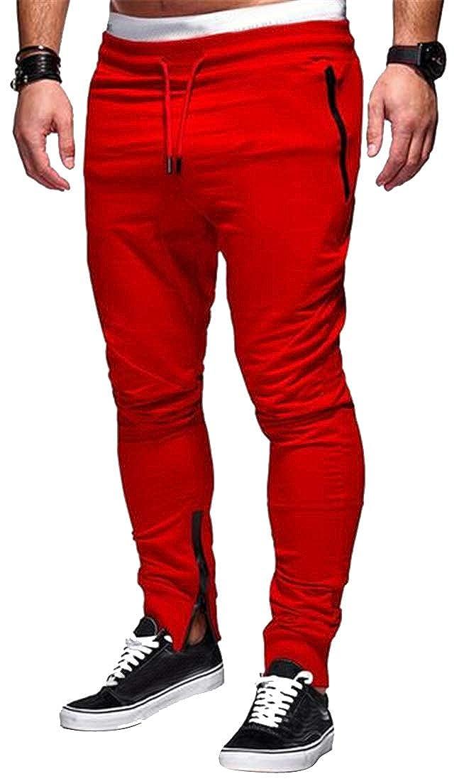 MOUTEN Mens Drawstring Casual Zip Trim Pure Color Stitching Slim Harem Pants