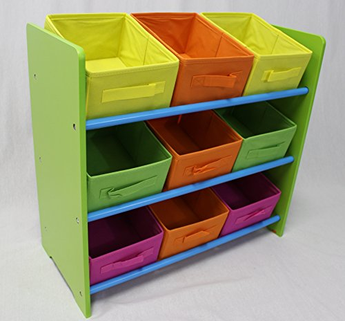 eHemco 3 Tier Storage Unit with 9 Removable Fabric Bins (3 Tier Toy Storage)