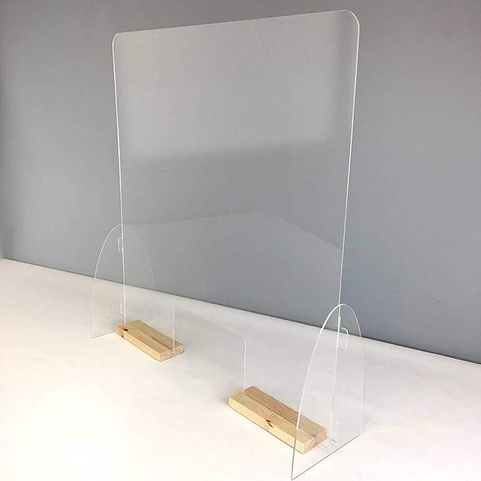 Mampara mostrador. Pantalla de protección. Separador transparente para Farmacias, supermercados, recepciones, hoteles, tiendas y comercios. Ancho 71 cm y Alto 75 cm (Peanas color blanco): Amazon.es: Oficina y papelería