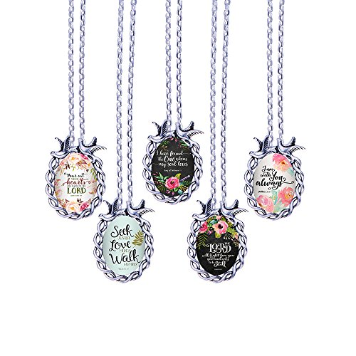 of Bird Inspired Chain Glass Silvery Handmade Bible Gifts 5pcs Bronze Long Cabochon 1 for Necklace Necklace Bible Bling 48cm Verses Bling Pendant with Pattern nzawPqPx85