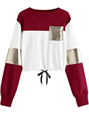 DEELIN LiquidacióN Blusa Moda para Mujer O-Cuello Casual Manga Larga Vendaje Patchwork Bolsillo Sudadera Blusa Camiseta