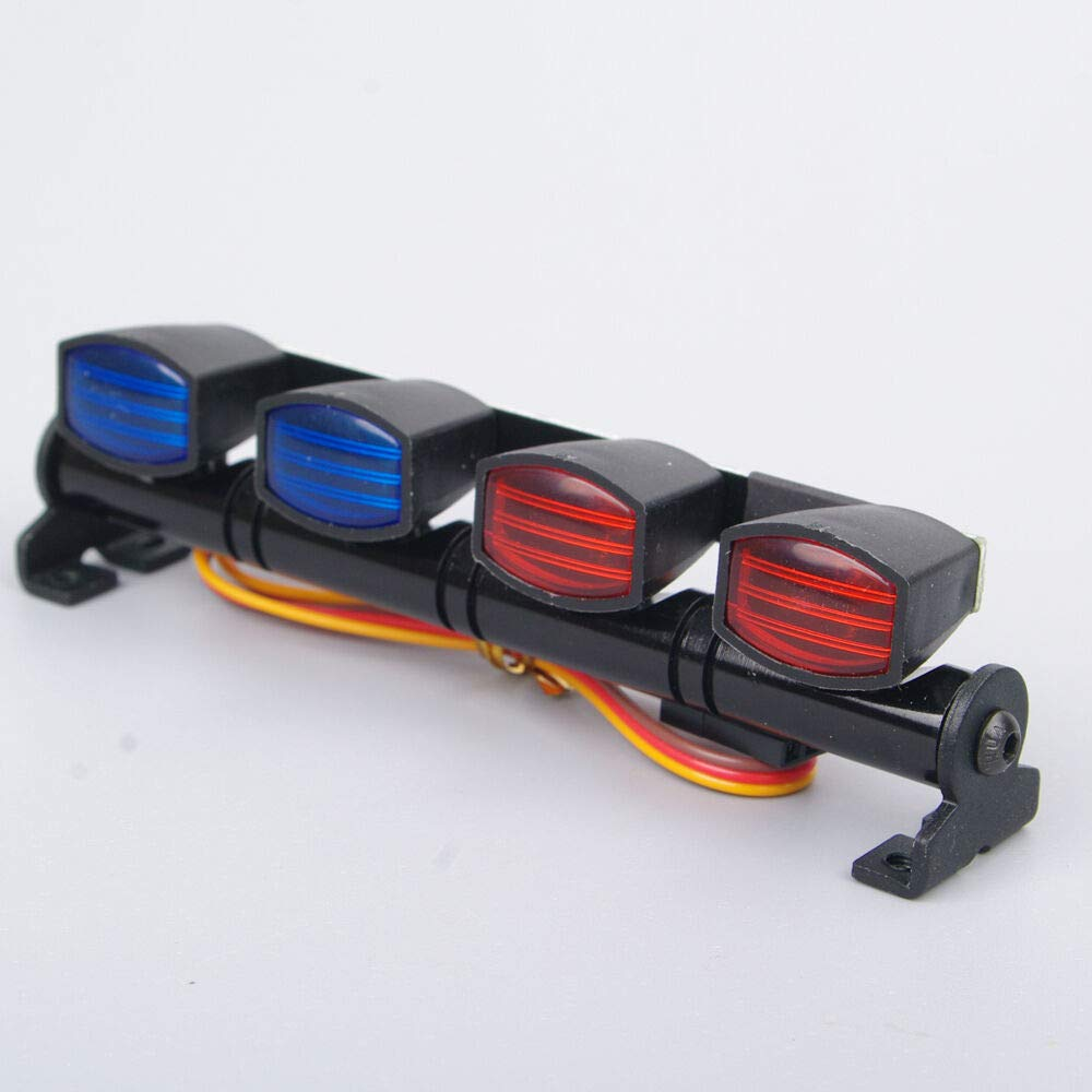 FidgetGear Mult-Function LED Light Bar RC 1/10 1/8 Car AX-505RB Red&Blue Police Lenses